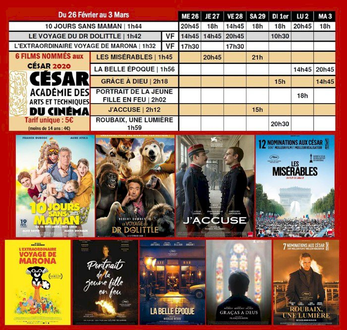 Cinéma Saint Gilles programme du 26 février au 3 mars, sur le grand écran