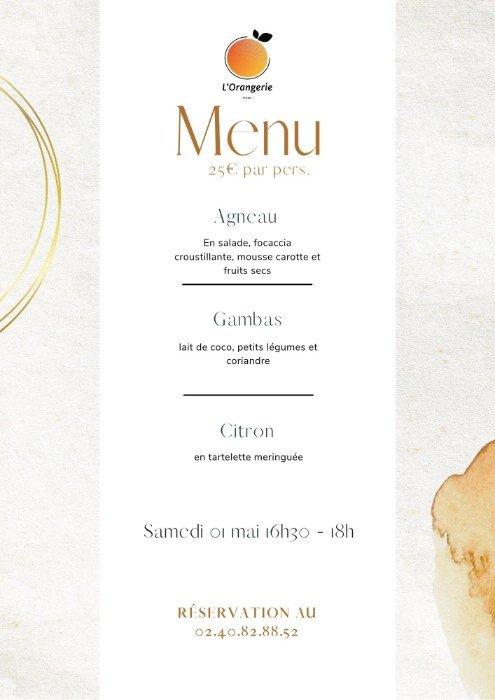L'Orangerie vous présente le menu de vente à emporter de la fin de semaine