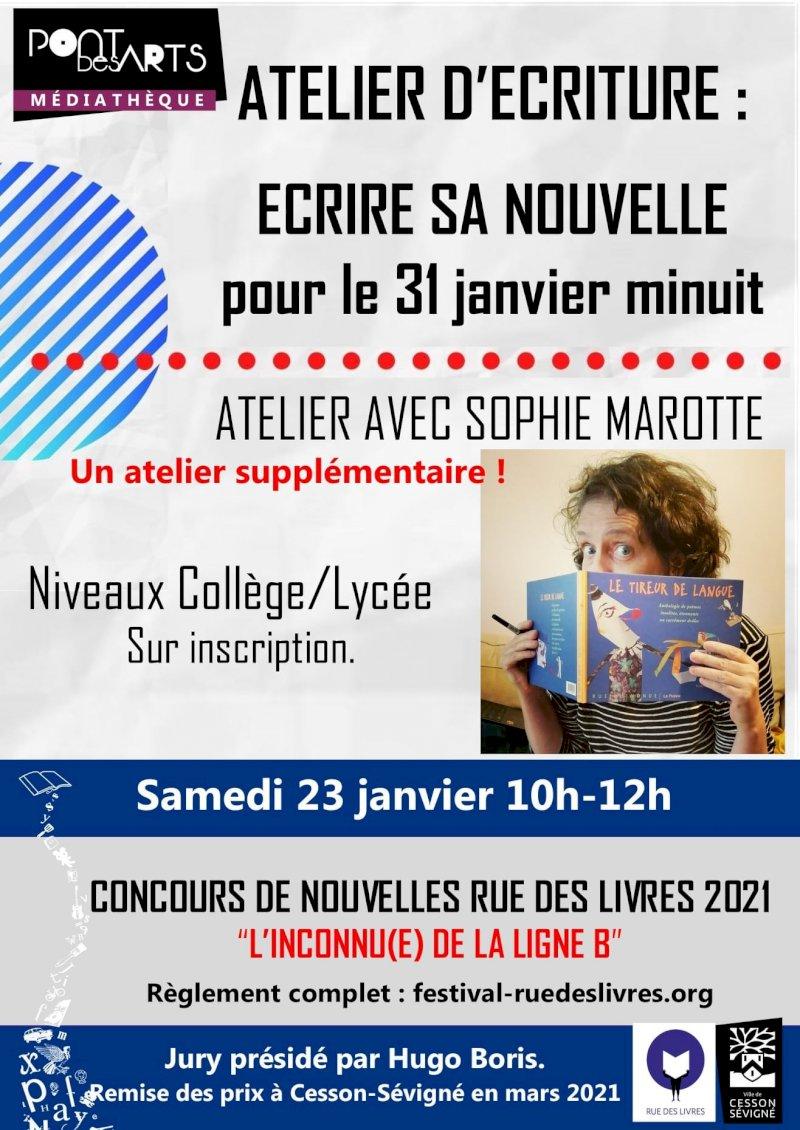 Atelier d'écriture spécial jeunes pour le concours de nouvelles Rue des livres 2021