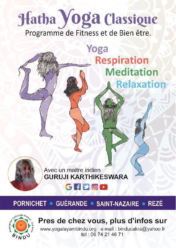 Cours de hatha yoga classique et méditation avec un maître indien