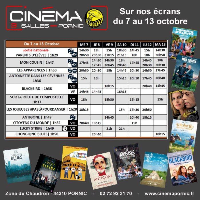 Programme du Cinéma Saint Gilles 3 salles du 7 au 13 octobre 2020