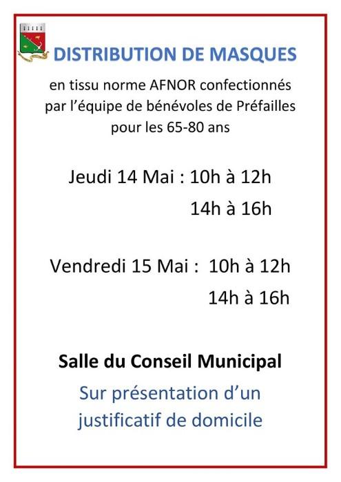 Distribution de masques pour les aînés jeudi 13 mai & 14 mai 2020
