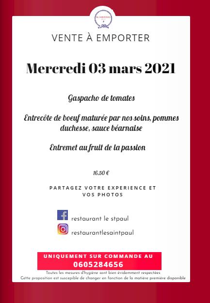 Le menu de vente à emporter du Saint Paul du 3 mars 2021