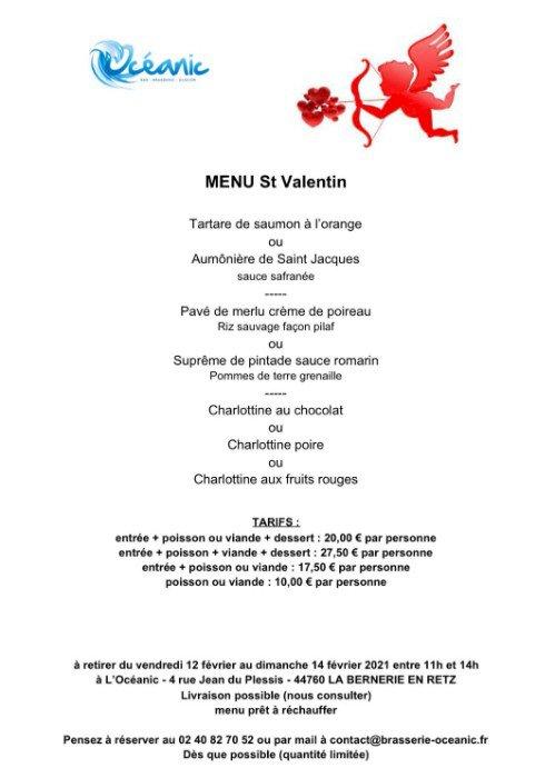 Le menu de vente à emporter de Saint Valentin de L'Océanic