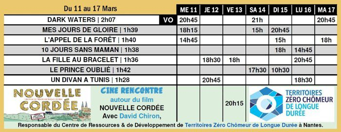Du 11 au 17 mars sur le grand écran du Saint-Gilles