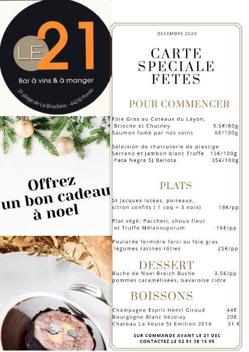 Les menus de fêtes du Bar Le 21