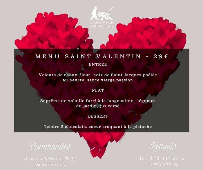 Le menu de Saint Valentin de La fontaine aux bretons en vente à emporter