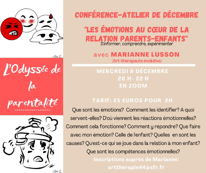 Conférence-Atelier: Les émotions au coeur de la relation parents-enfants
