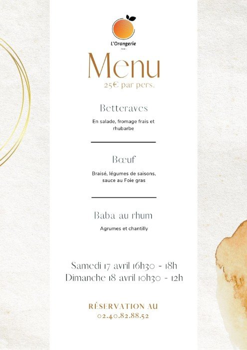 Le menu de vente à emporter du restaurant L'Orangerie