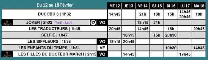 Programme Du 12 au 18 février, sur le grand écran du Saint-Gilles