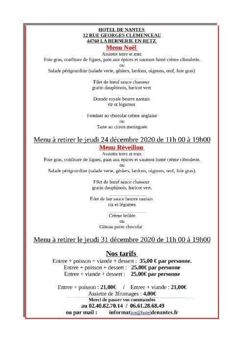 Les Menus de vente à emporter des réveillons de Noël et de saint Sylvestre de l'Hôtel de Nantes