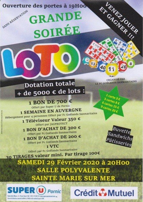 GRANDE SOIRÉE LOTO AVEC UNE DOTATION DE LOTS DE + DE 5000 €