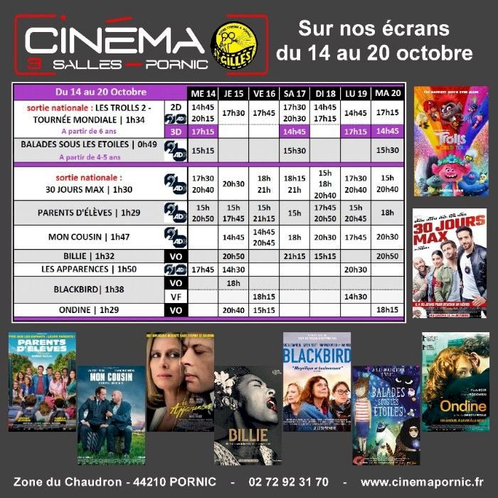 Programme du Cinéma Saint Gilles 3 salles du mercredi 14 au mardi 20 Octobre 2020.