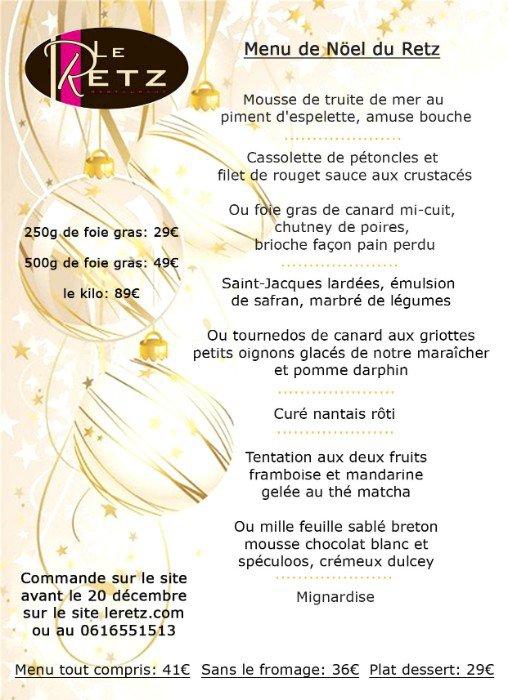 Le menu de Noël du Restaurant Le Retz
