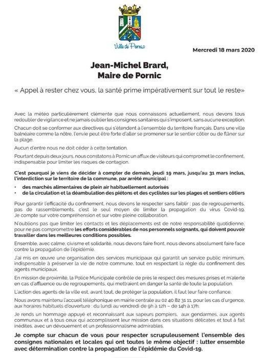 """Jean-Michel Brard, Maire de Pornic décide : """"Appel à rester chez vous , la santé prime impérativement sur tout le reste"""""""