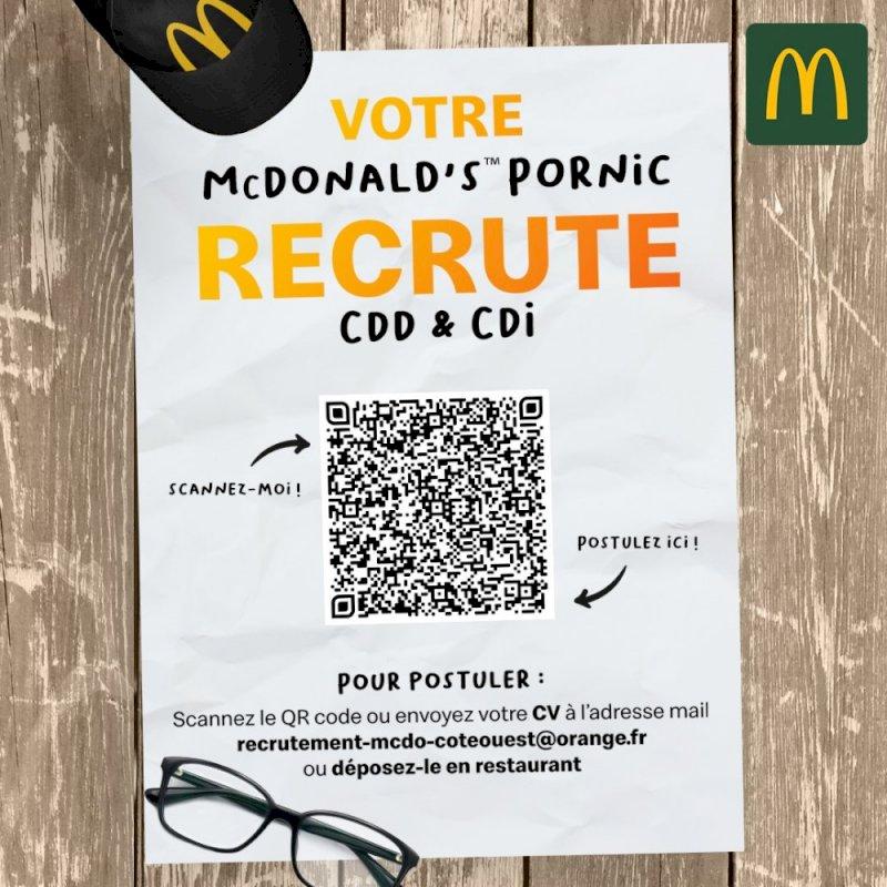 RECRUTEMENT 📢  Postes d'ÉQUIPIER(E)S POLYVALENT(E)S à pourvoir dans votre  McDonald's™ Pornic pour la saison estivale ☀️
