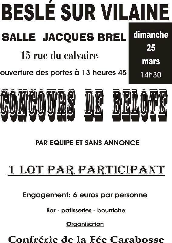 Concours de belote par équipe et sans annonce