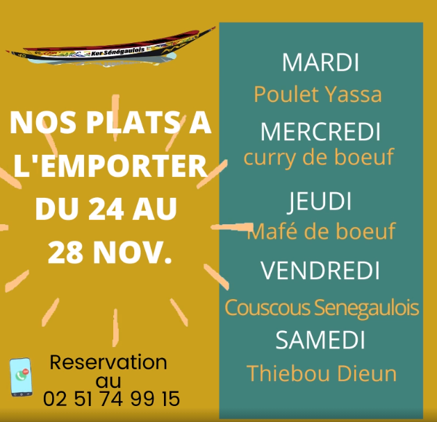 La carte des plats à emporter du restaurant le Ker sénégaulois au Chaudron