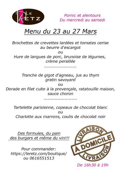 Le menu de la semaine du 23 au 27 mars 2021