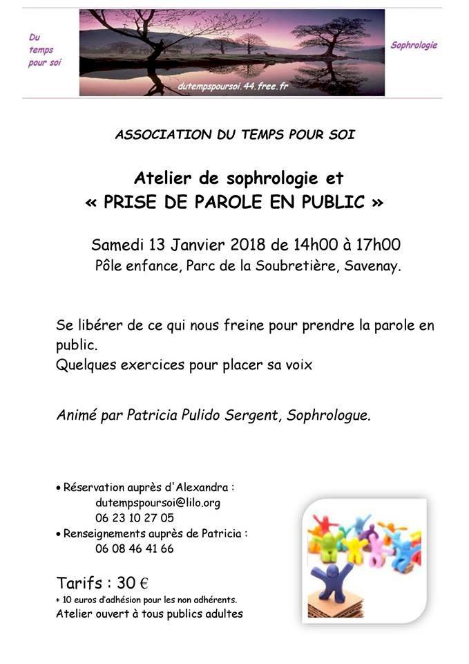 """Atelier de sophrologie et """"Prise de parole en public"""""""