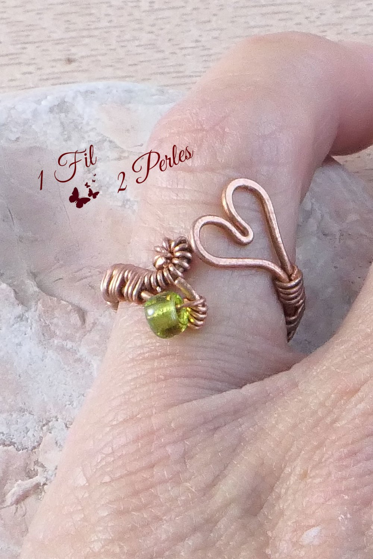 Bague Coeur Ajustable en Cuivre, Perle Verte Wire Wrapping