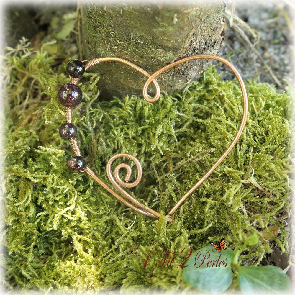 Broche Metal Forme de Coeur Perles Grenat Véritables
