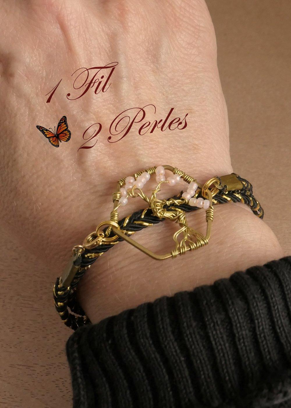 Bracelet Double Tour et Collier Arbre de Vie Perles Rose Tissées
