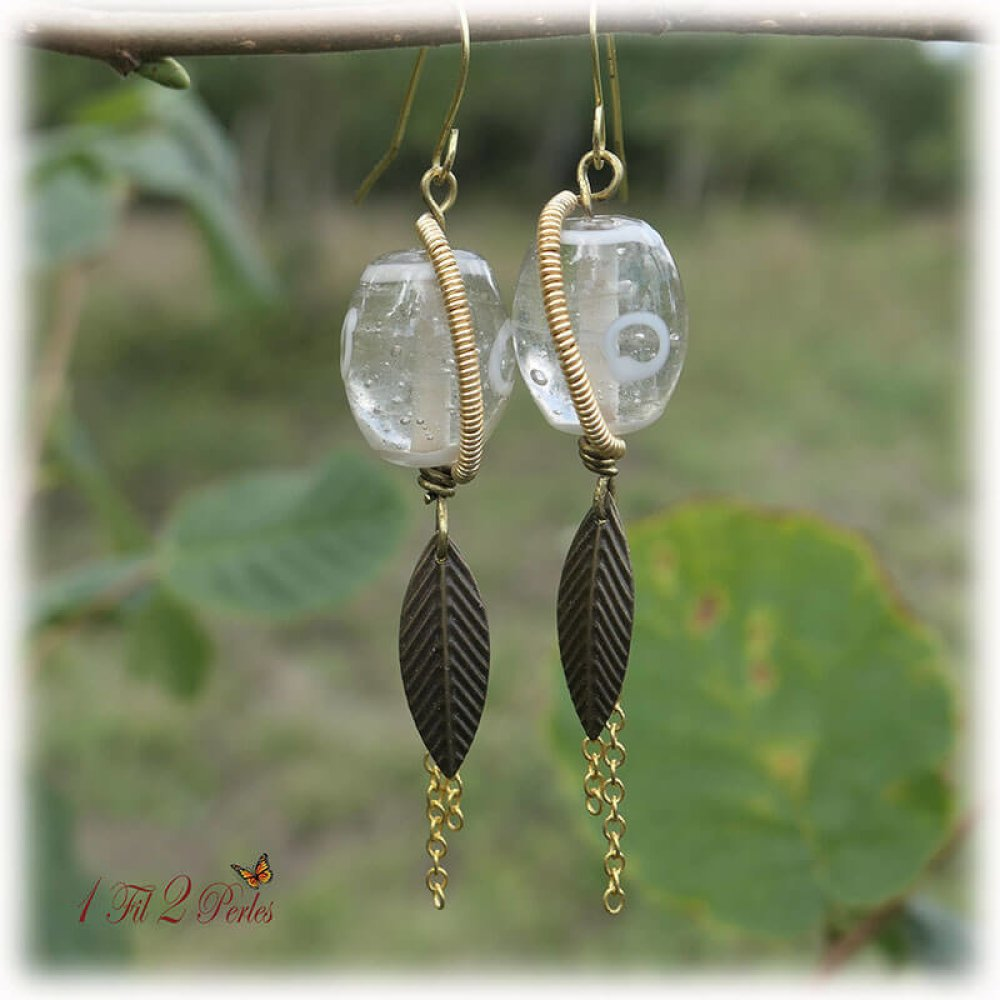 Boucles d'Oreilles Perles Verre Artisanale Wire Wrapping