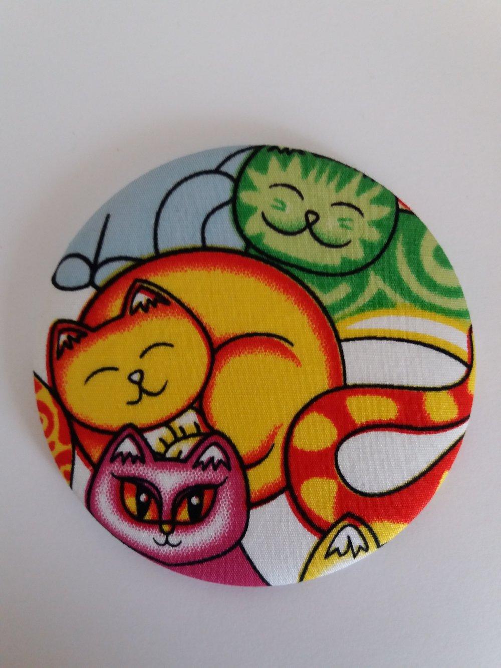 Miroir de sac décor tissus motifs chats - Fait main