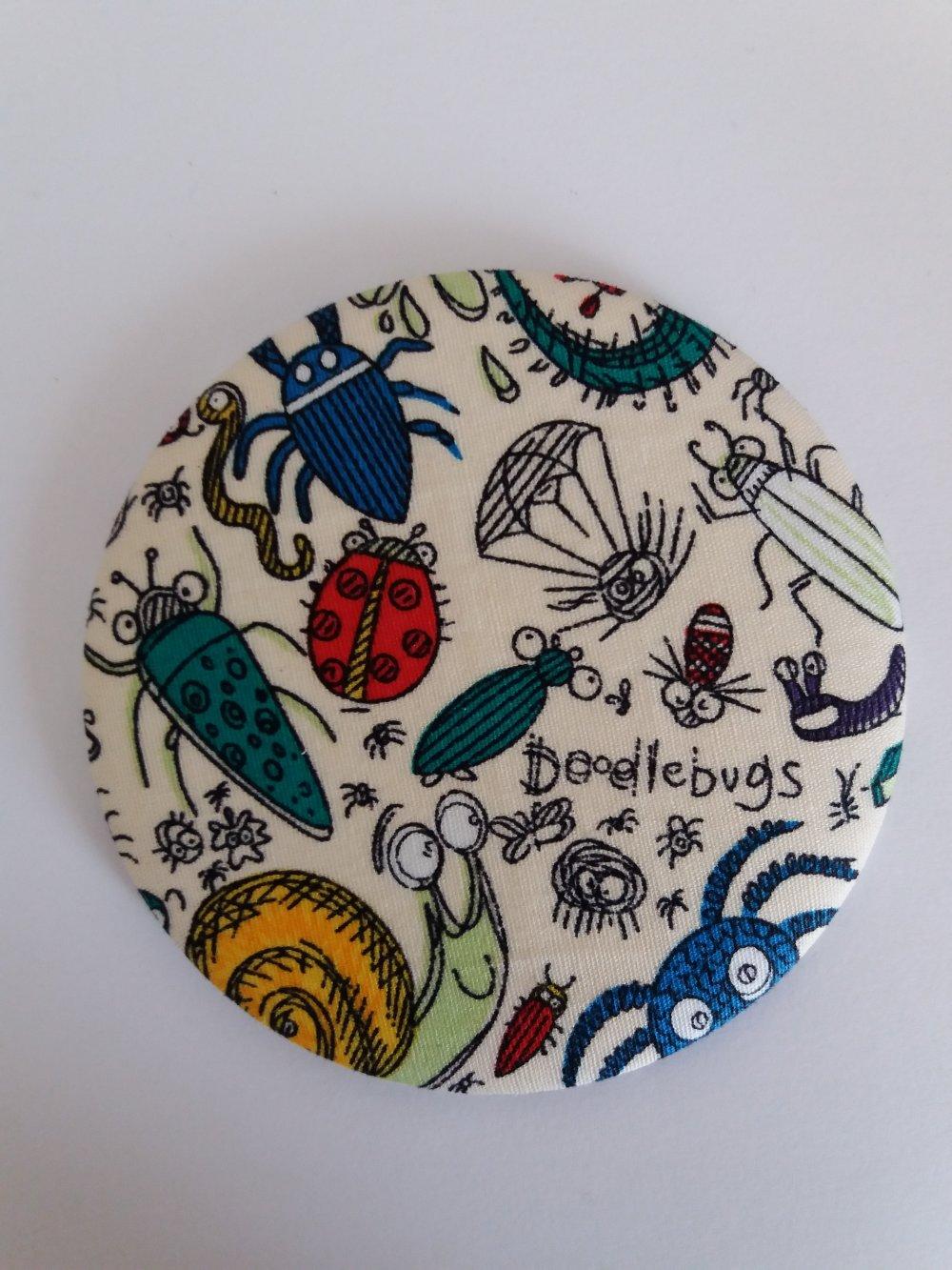 Miroir de sac décor tissus motifs insectes - Fait main