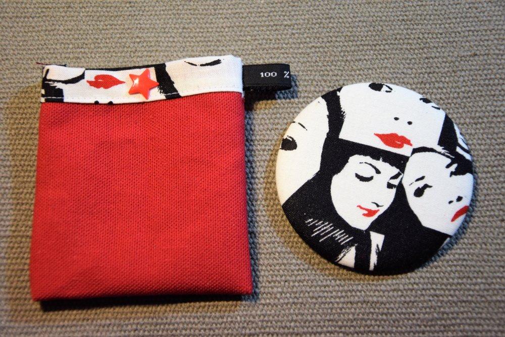 Miroir de sac motifs femme et pochette à pression assortie - Fait main