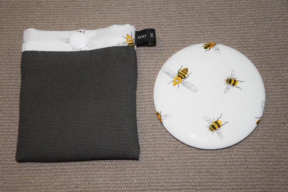 Miroir de sac blanc à motifs abeilles et pochette à pression assortie - Fait main