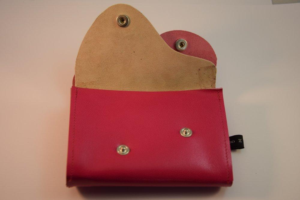 Porte monnaie double en cuir rose - Fait main