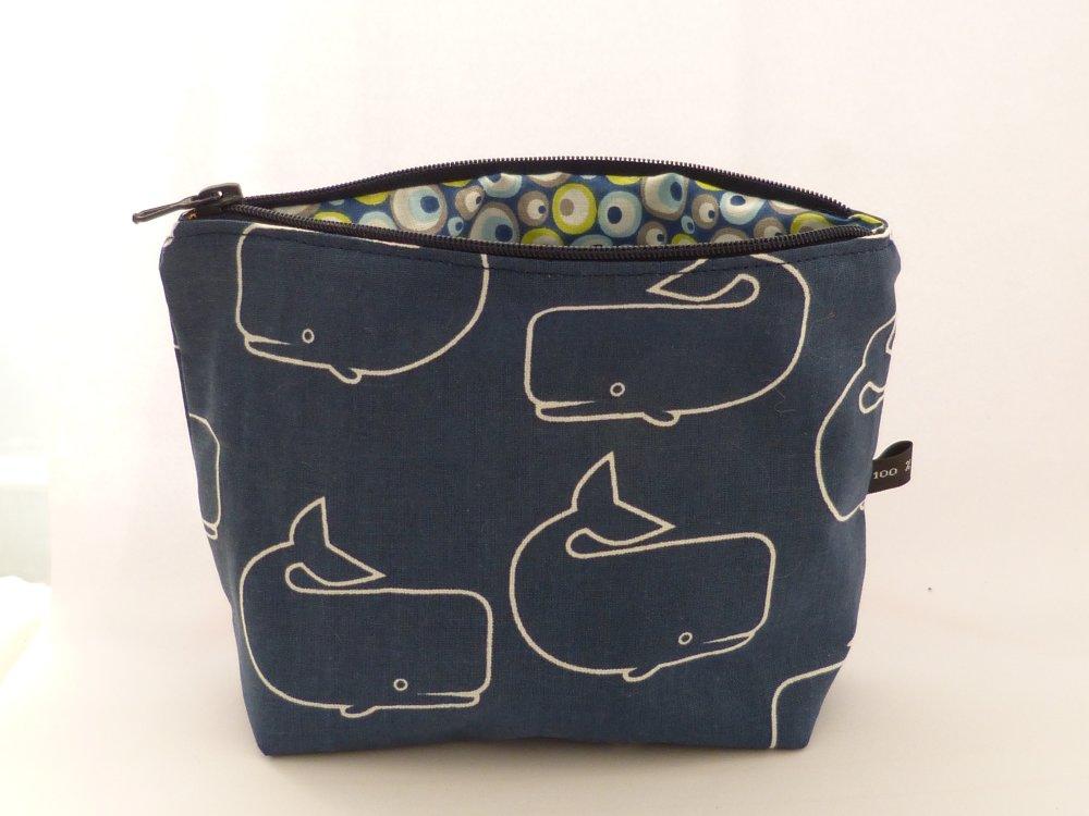 Trousse zippée tissu bleu marine motifs baleines doublée - Fait main