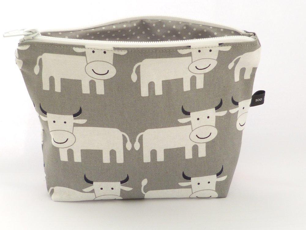 Trousse zippée tissu gris motifs vaches doublée - Fait main
