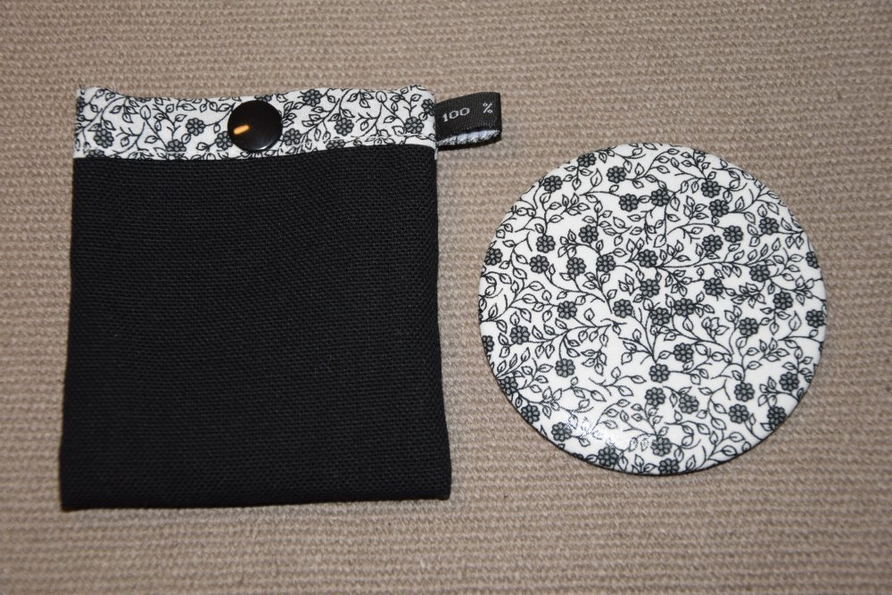 Miroir de sac blanc motifs fleurs et pochette à pression assortie - Fait main