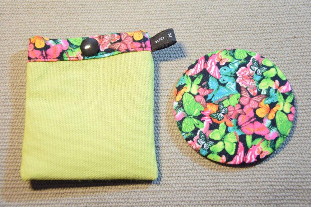 Miroir de sac noir motifs papillons et pochette à pression assortie - Fait main