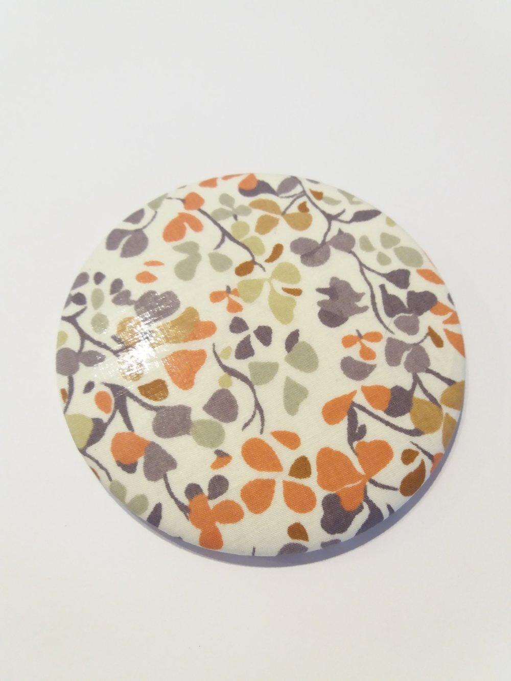 Miroir de sac décor tissus motifs fleurs liberty - Fait main