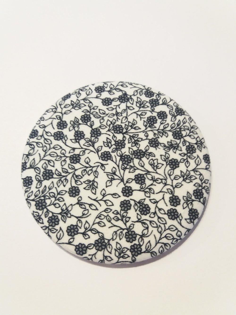 Miroir de sac décor tissus motifs fleurs - Fait main
