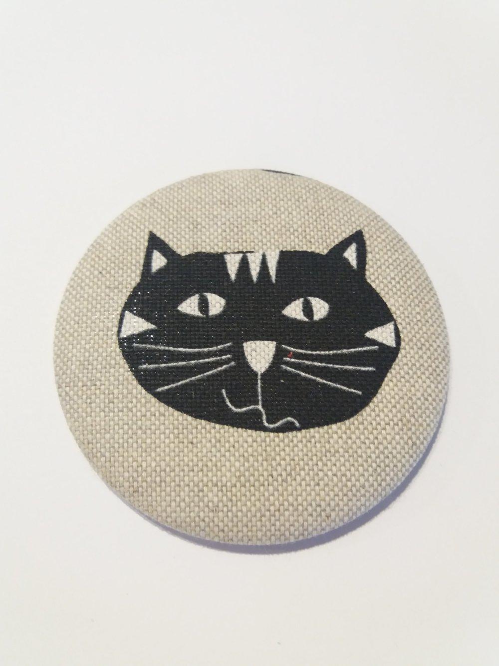 Miroir de sac décor tissus motif chat - Fait main
