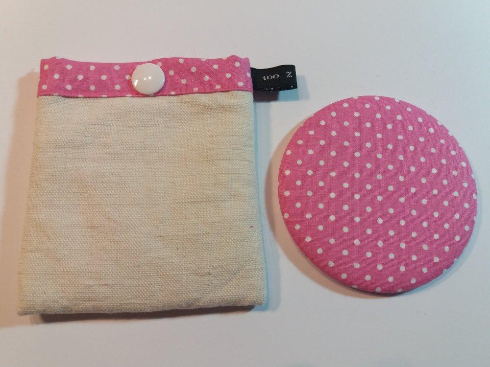 Miroir de sac rose motifs pois et pochette à pression assortie - Fait main