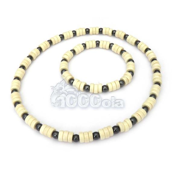 Ensemble collier + bracelet style surfeur/surf homme perles naturelle bois + hematite
