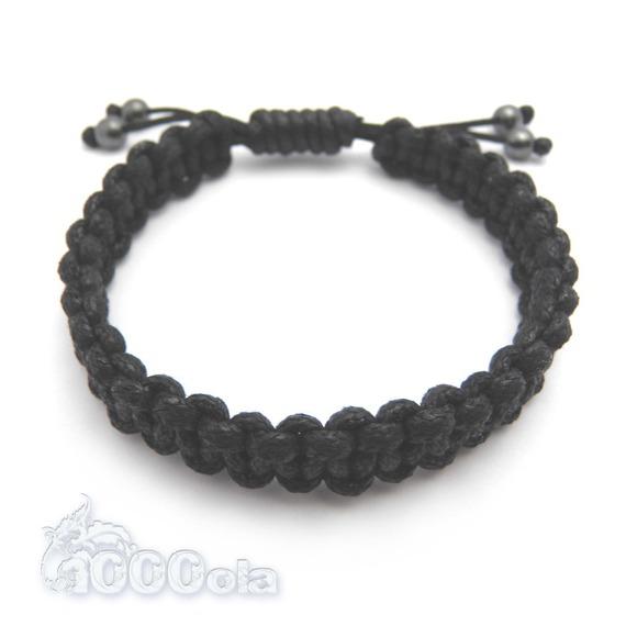 BRACELET Homme/Men's Style SHAMBALLA fil coton ciré noir, perles hématite