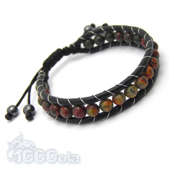 Bracelet Homme/Femme Style Shamballa Cuir VÉRITABLE Perles Ø 6mm pierre naturelle Picasso Jasper Hématite