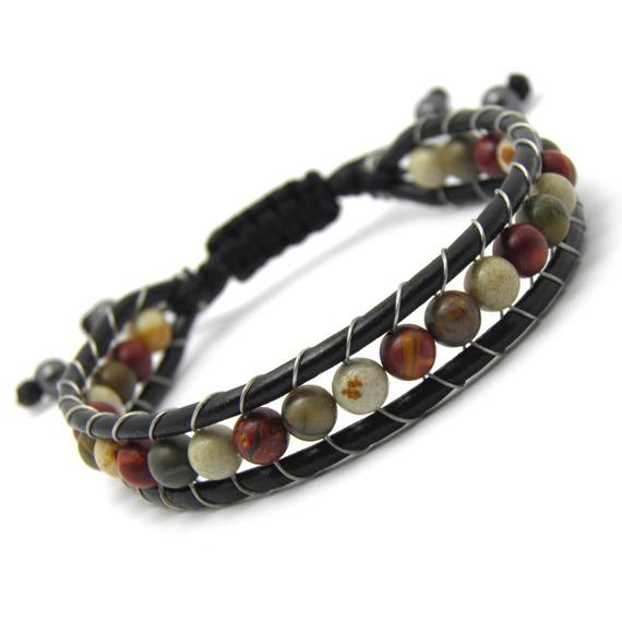 Bracelet Homme/Femme Style Shamballa Cuir VÉRITABLE Perles Ø6mm pierre naturelle Picasso Jasper fait sur mesure