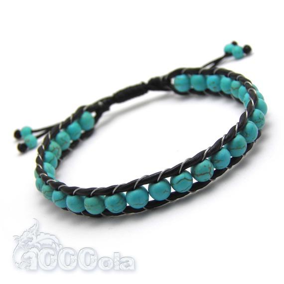 Bracelet Homme/Femme Style Shamballa Cuir VÉRITABLE Perles Ø 6mm perles Pierre naturelle howlite couleur turquoise