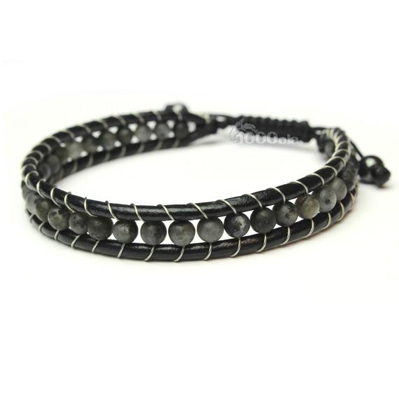 Bracelet Homme Style Shamballa Cuir VÉRITABLE Perles Ø 4mm pierre naturelle agate onyx mat noir P103