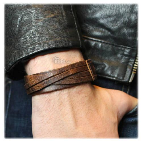 grand bracelet homme en cuir