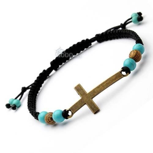 Mode tendance bracelet homme/femme style shamballa perles 6mm pierre naturelle howlite couleur turquoise, bois, croix