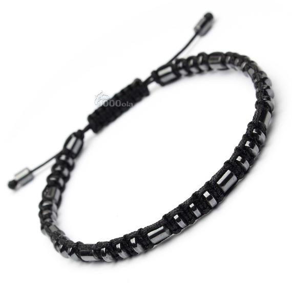 Élégant Bracelet Style Shamballa Homme perles Ø 4mm  en Pierre Naturelle Hématite fil nylon noir fait main